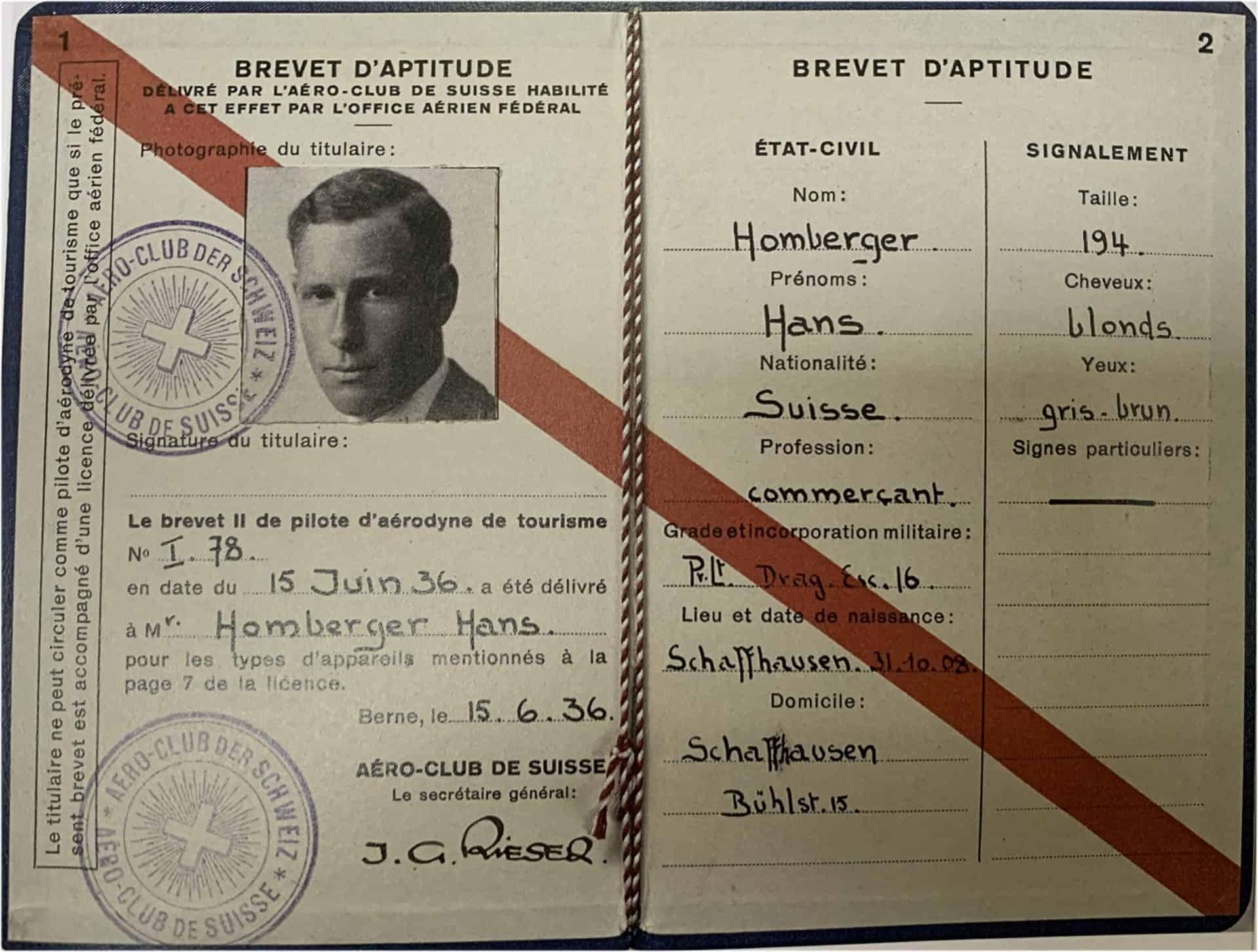 Pilotenlizenz Hans Homberger