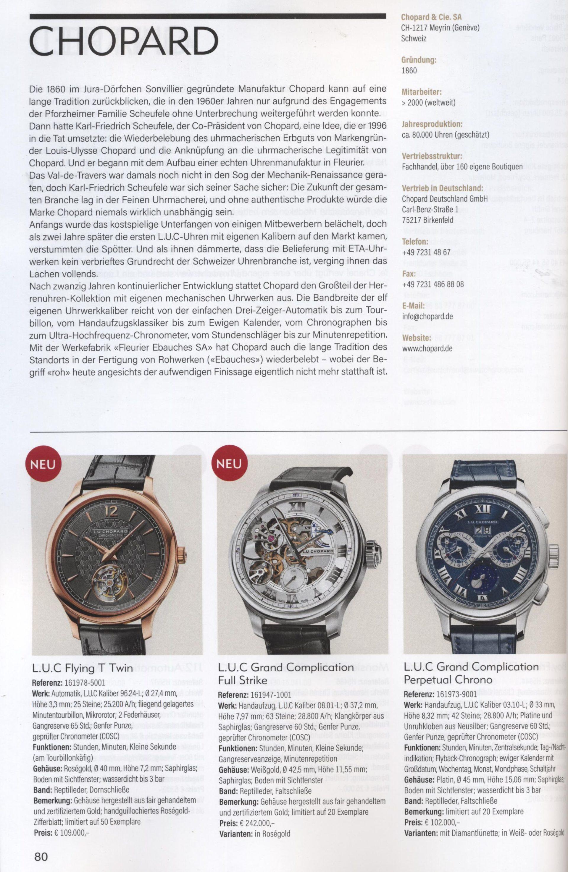 Armbanduhren Katalog Heel 2019 Chopard