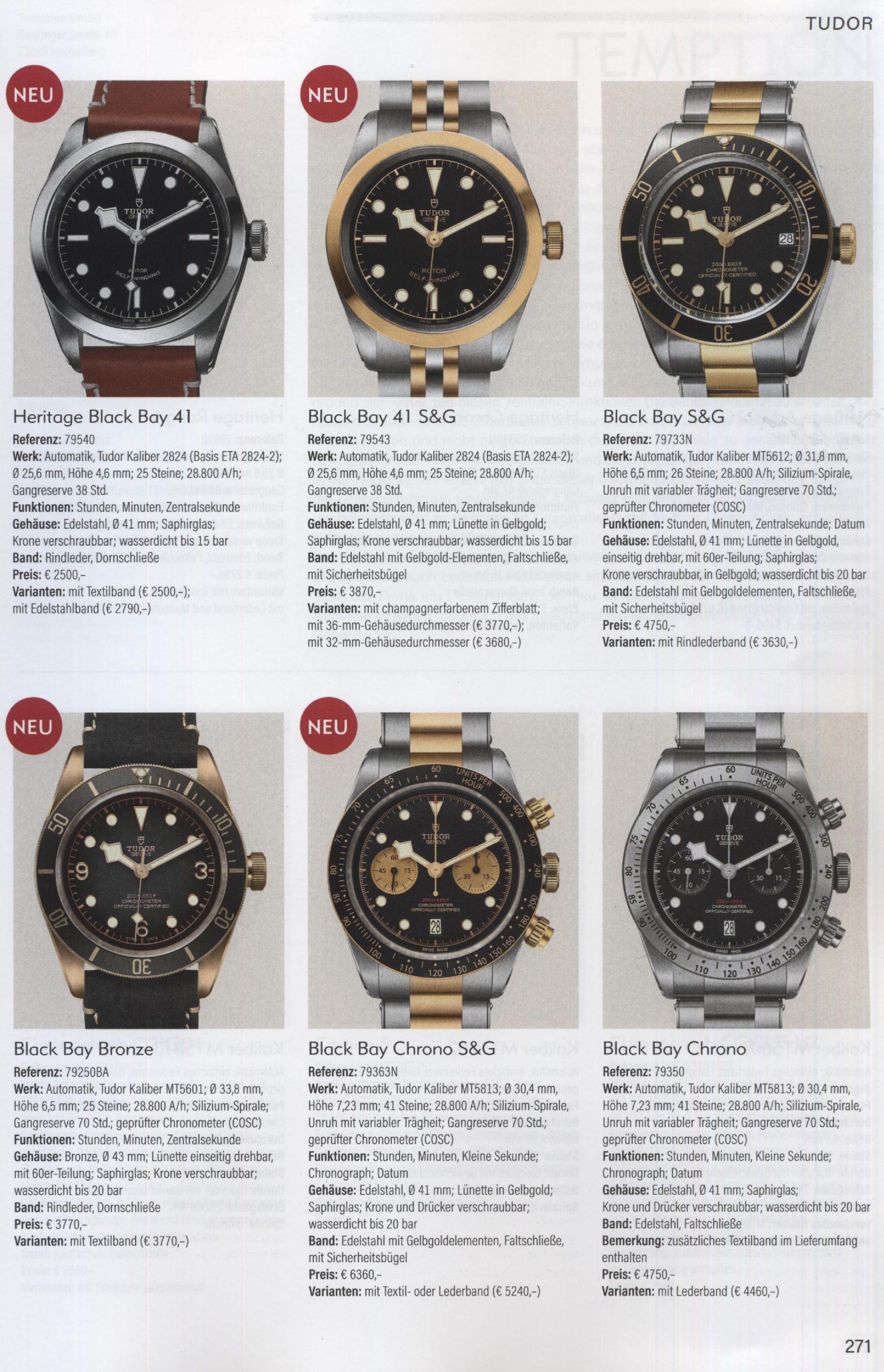 Armbanduhren Katalog Heel 2019 Tudor