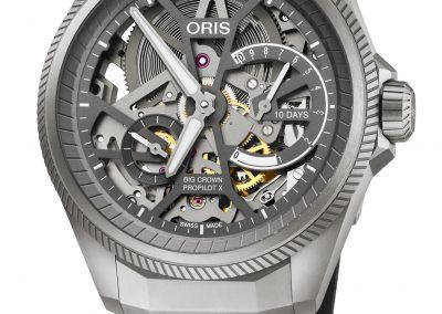 Die Oris Big Crown ProPilot X mit dem skelettierten Uhrwerk
