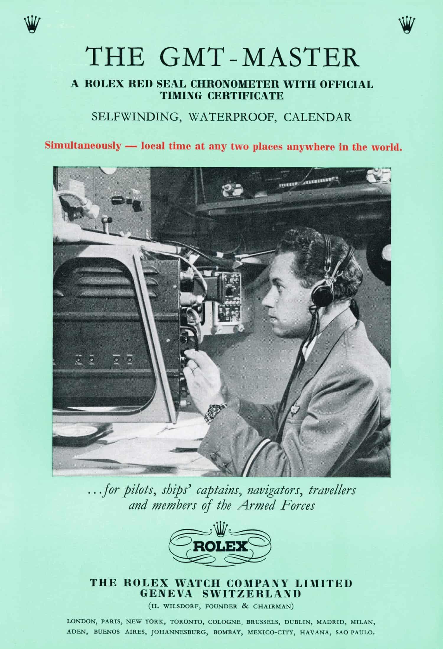 Das Verkaufsprospekt der Rolex GMT Master aus dem Jahr 1956 für Flugkapitäne, Navigatoren und Militärs: Automatik-Rotor,Wasserdichtigkeit und zweite Zeitzone.