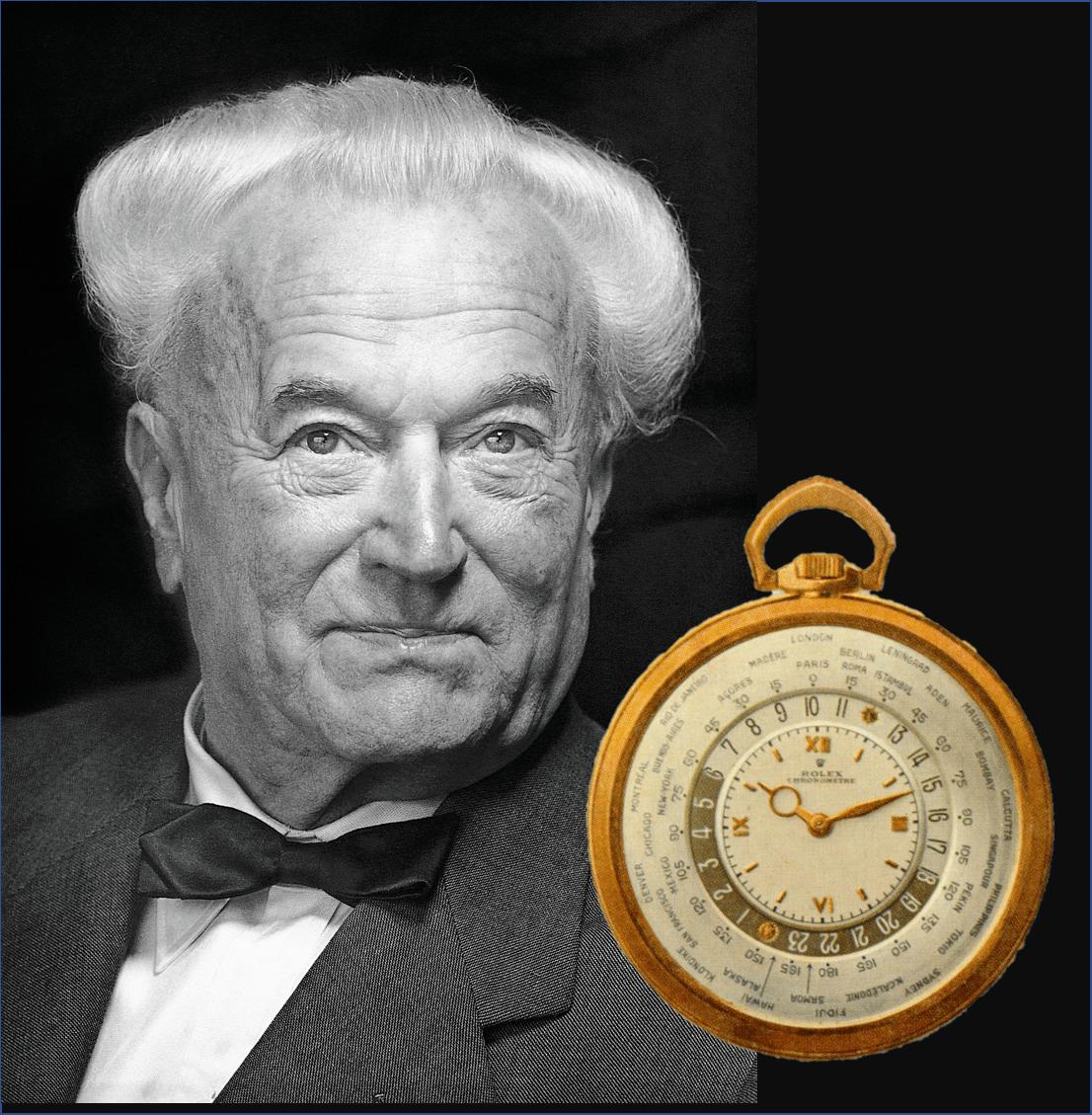 Zum Firmenjubiläum 1945 war Rolex Gründer Wilsdorf noch mit einer gemeinsam mit Cottier entwickelten Weltzeit-Taschenuhr zugegen