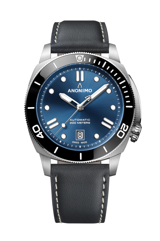 ANONIMO NAUTILO 42mm Classic schwarz Lederband ZB blau AM 5009.09.103.A01