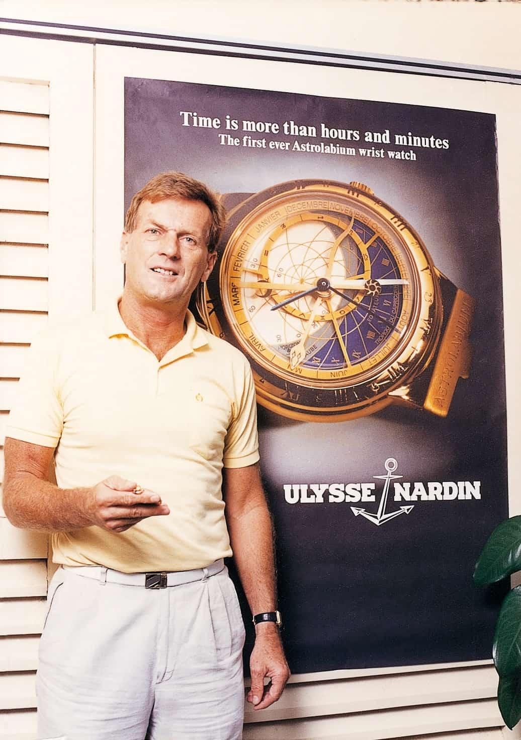 Rolf W. Schnyder mit dem Ulysse Nardin Astrolabium, 1985