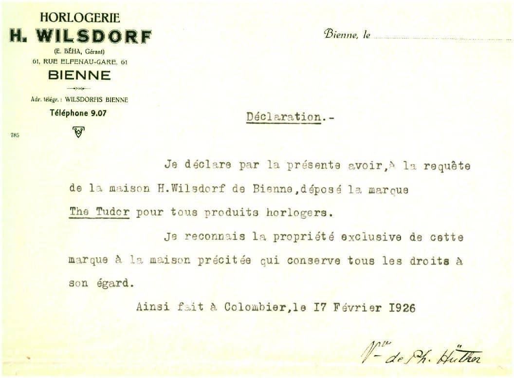 Das Dokument, das Hans Wilsdorf die Rechte an der Marke The Tudor übertrug