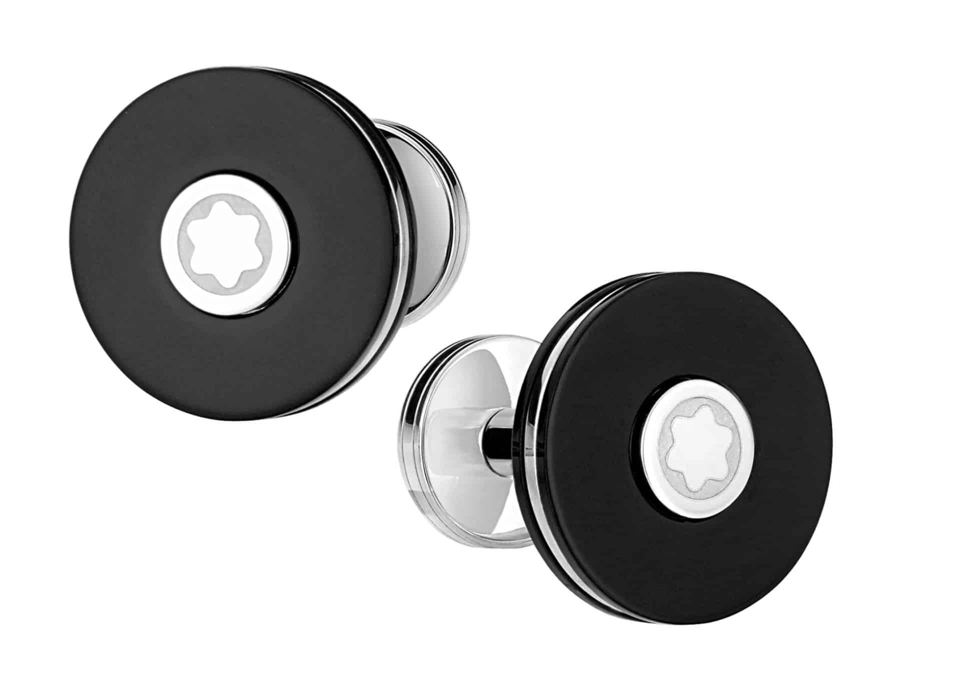 Die Montblanc Manschettenknöpfe Pix sind schlicht, schwarz-weiß und rund