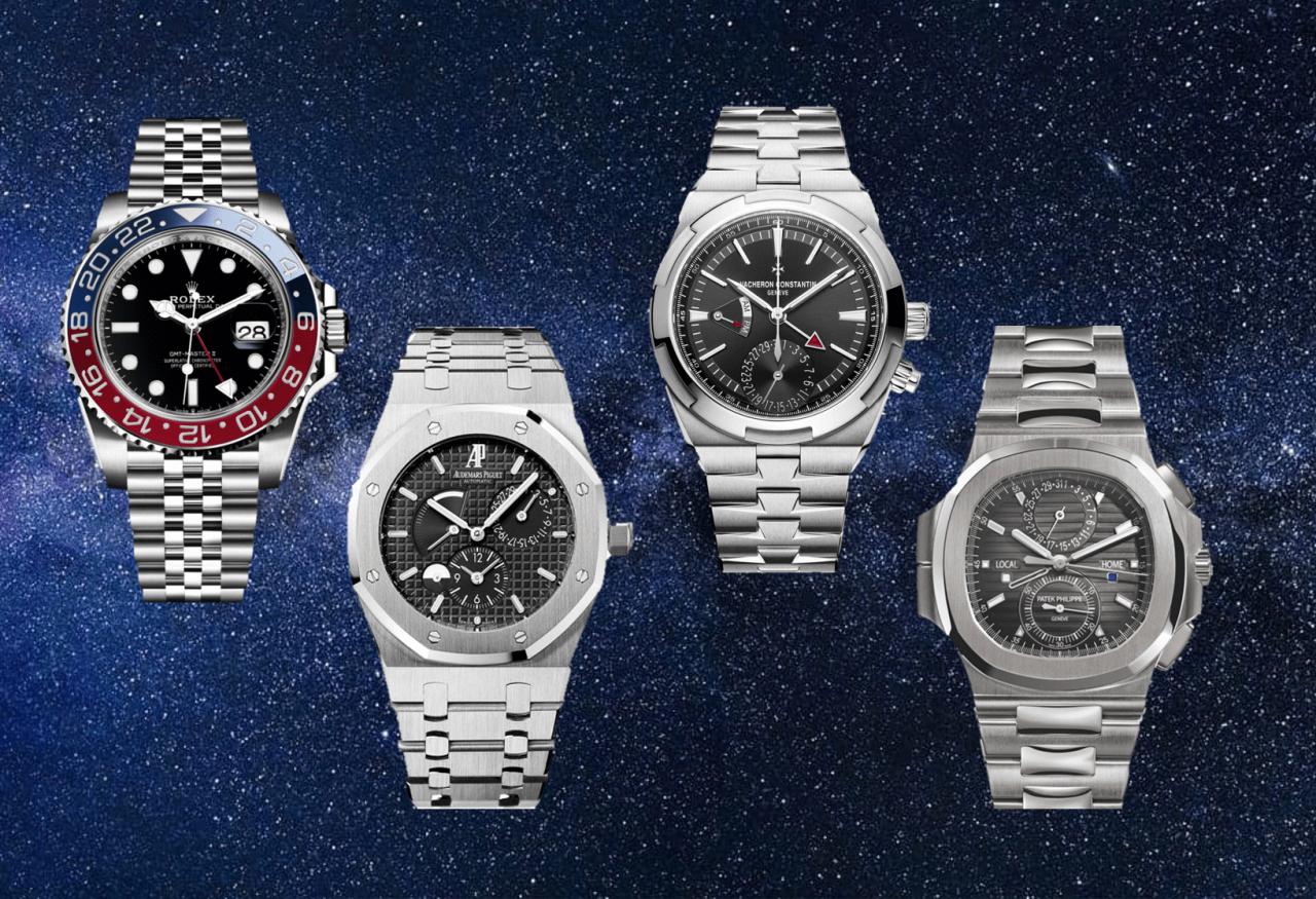 Schwarze Uhren von Vacheron Constantin Overseas plus Patek, Rolex und Audemars.
