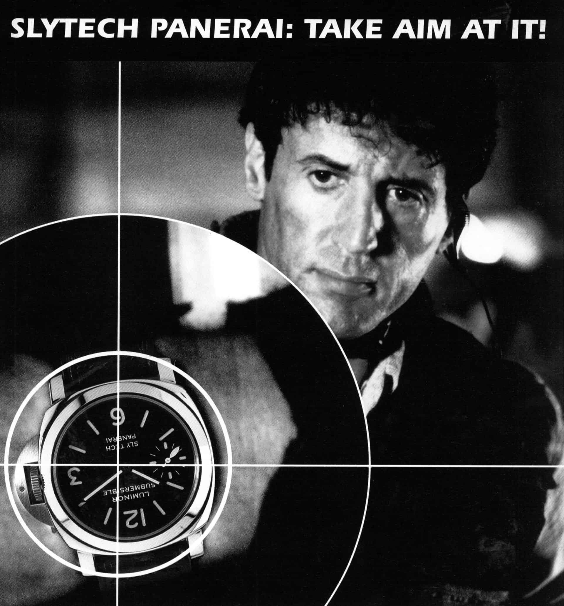 Sylvester Stallone und eine Slytech Panerai auf einem alten Werbemotiv