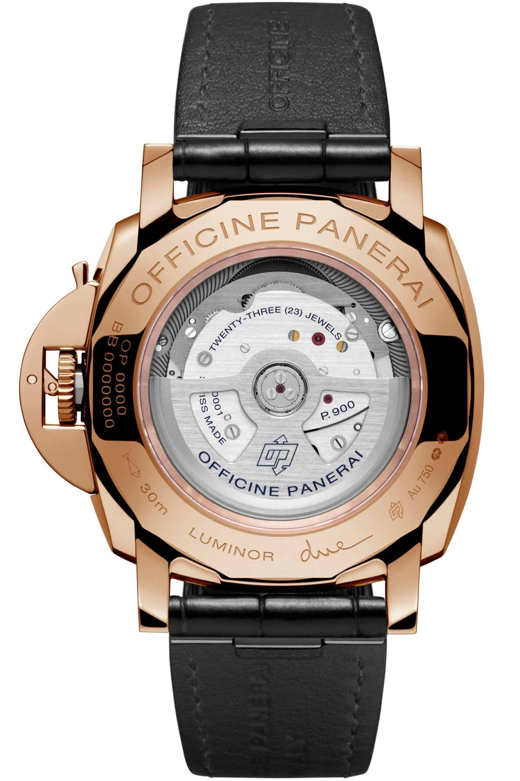 Rückseite der Panerai Luminor Due Goldtech
