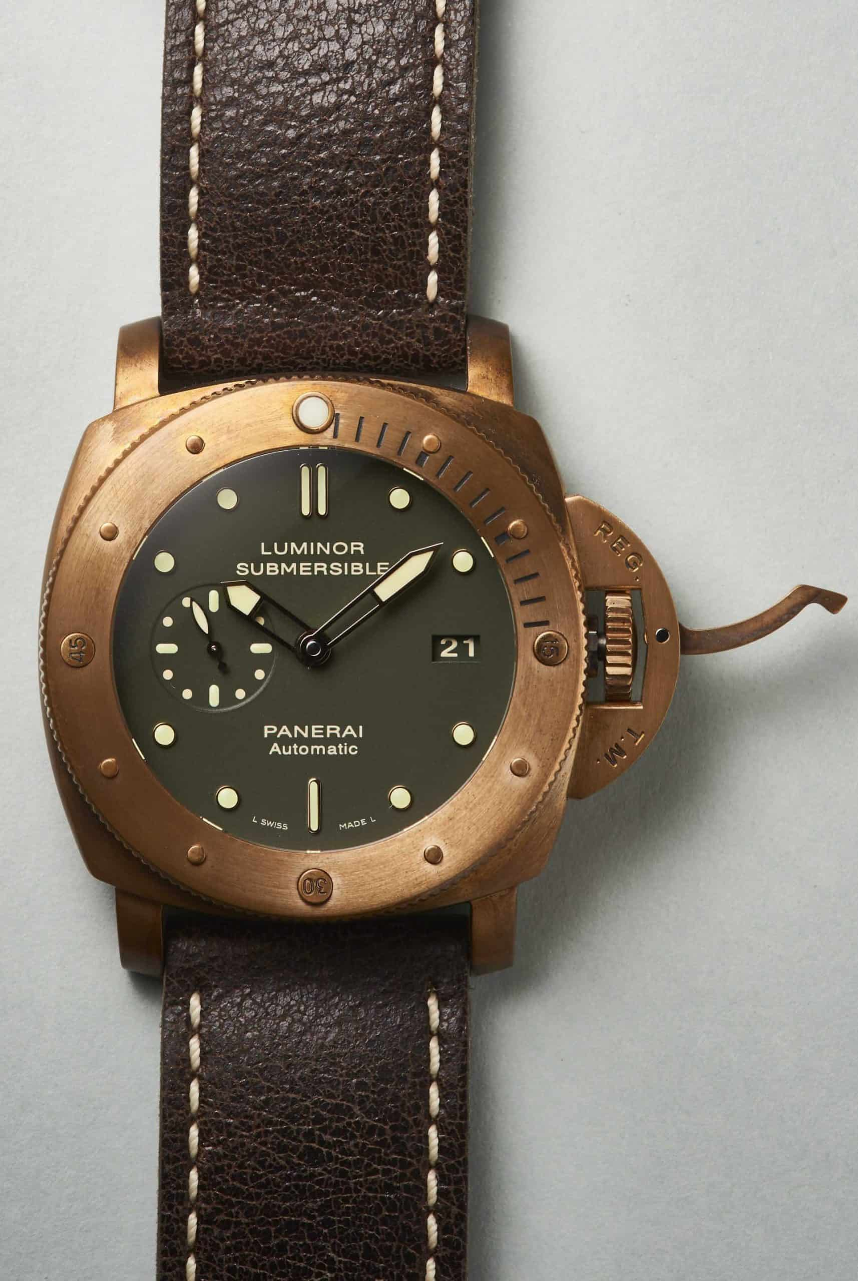 Panerei Luminor Submersible Bronzo PAM00382 Krone geöffnet scaled