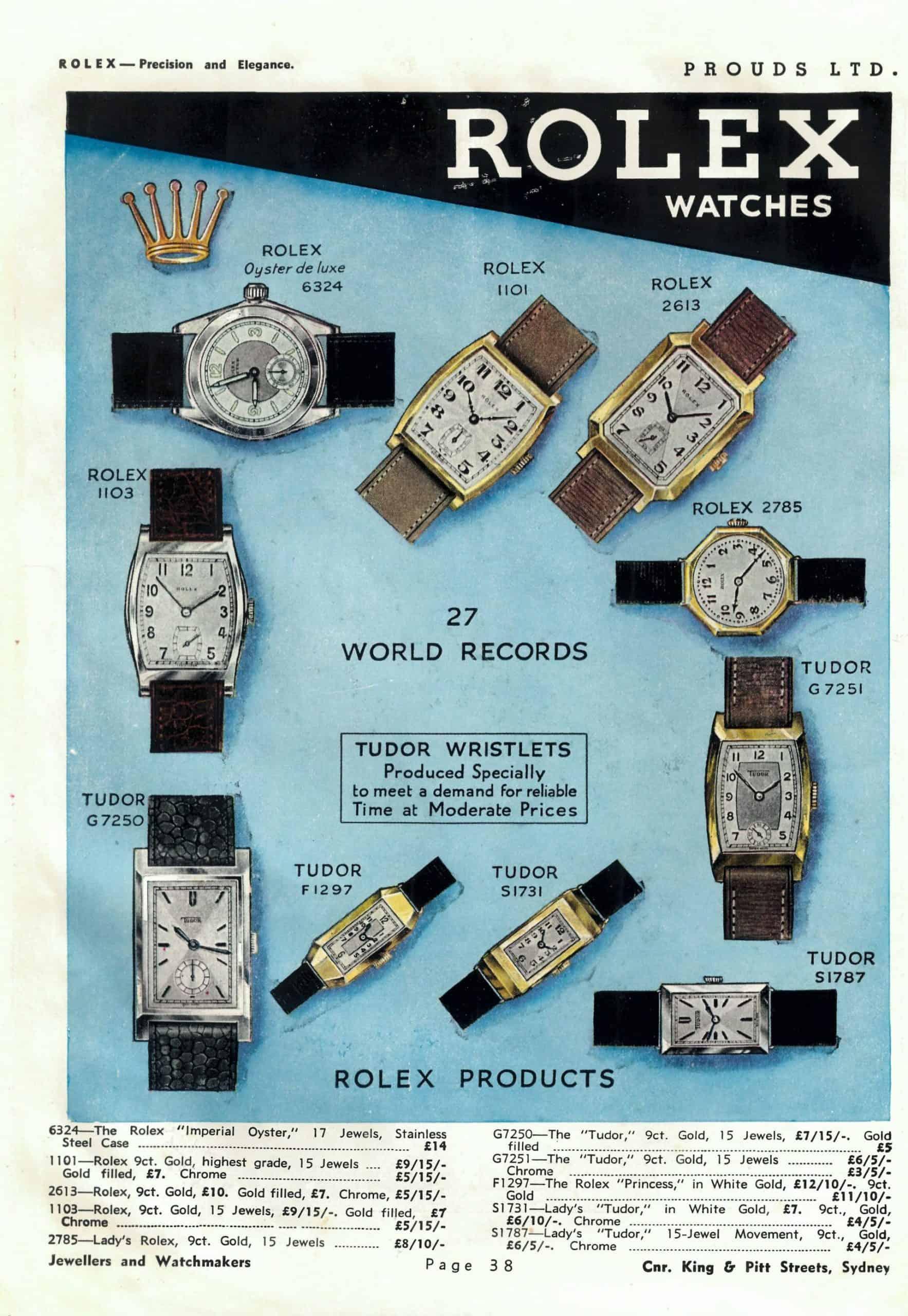 Anzeigenseite des Jahres 1932 mit Uhren von Rolex und Tudor