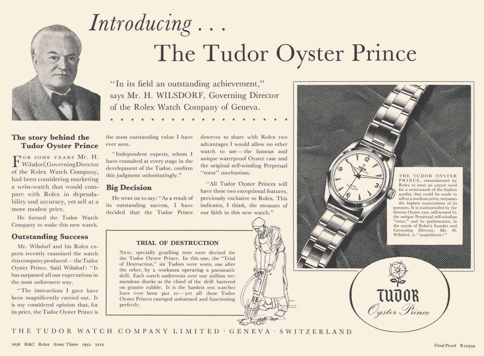 Altes Anzeigenmotiv mit der Darstellung der Robustheit der Tudoruhren bewiesen durch die Nutzung eines Arbeiters