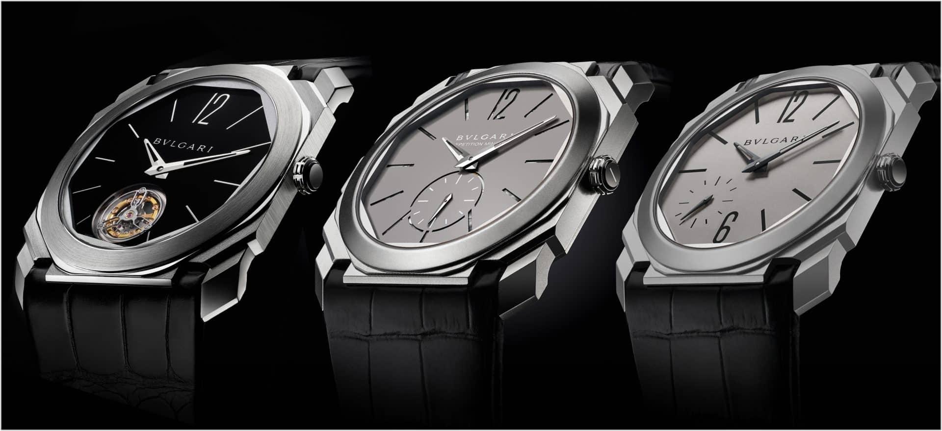 Die drei ersten Octo Finissimo Modelle in Titan, mit Minutenrepetition und mit Tourbillon