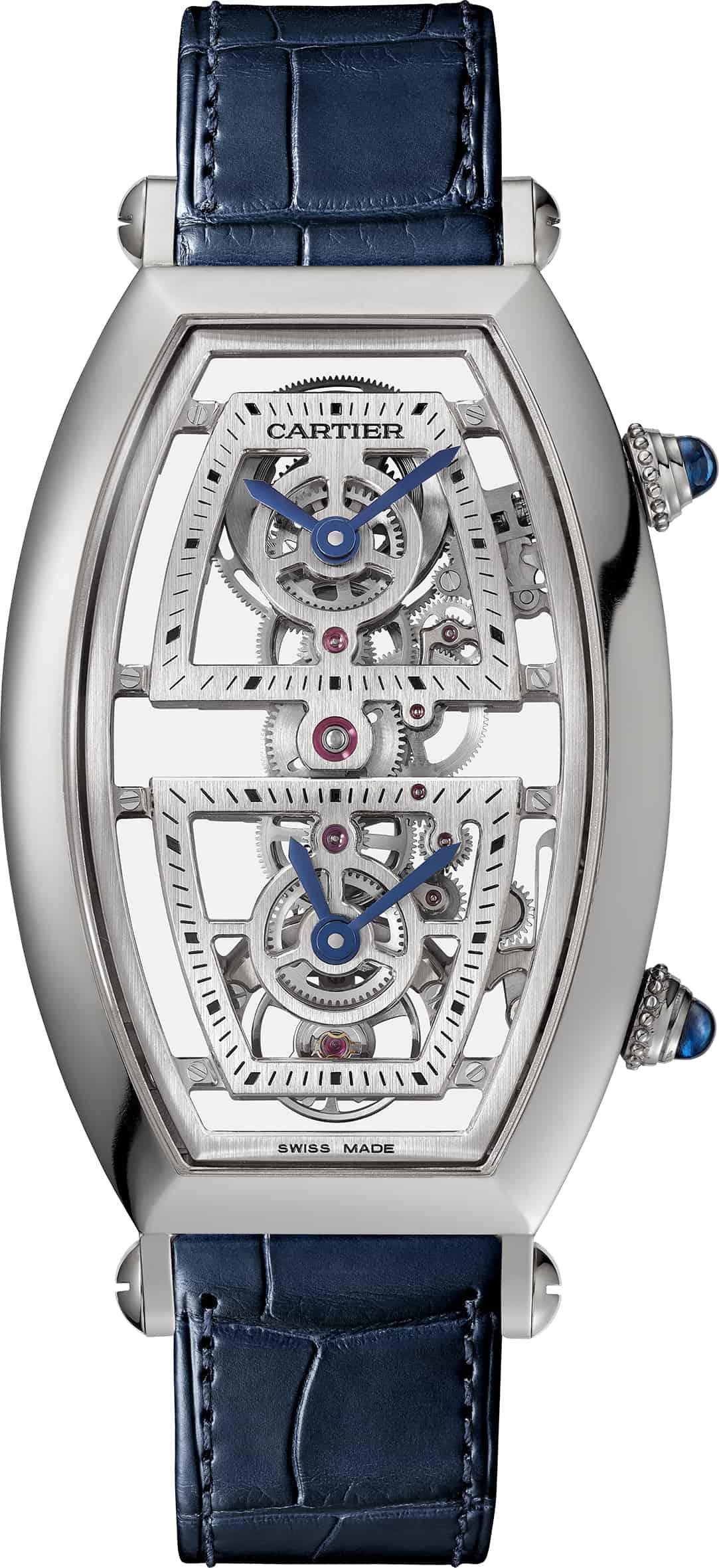"""die """"Tonneau Dual Time Zone Squelette"""" von Cartier."""