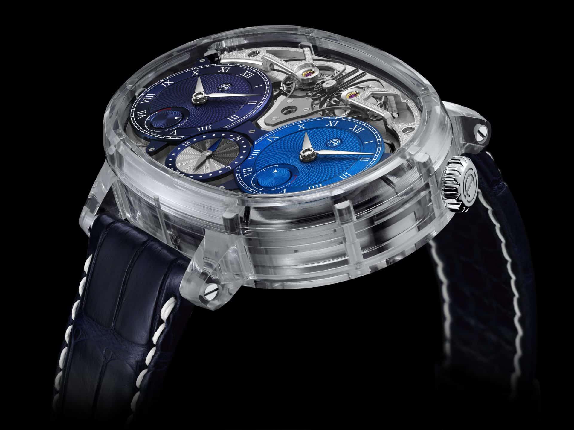 Die Armin Strom Dual Time Resonance Sapphire mit den zwei Zeitzonen und den zwei Manufakturkalibern
