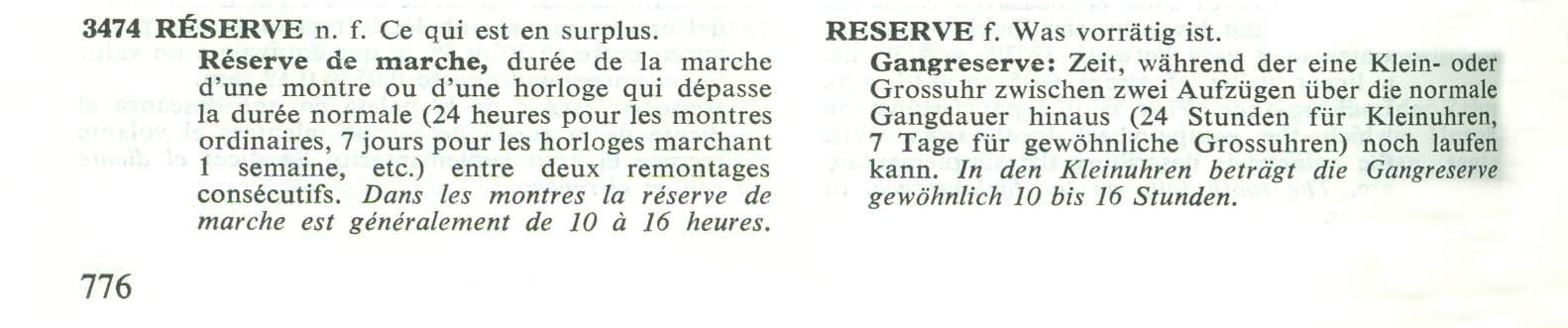 Georges Albert Berner Illustriertes Wörterbuch der Uhrmacherei Gangreserve