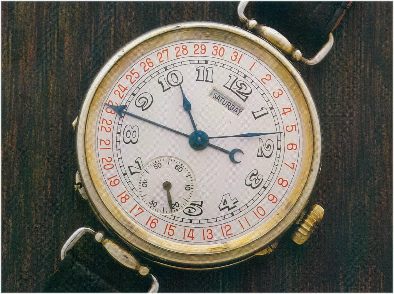 Von H. Moser & Cie. aus dem Jahr 1916 stammt die vermutlich erste Armbanduhr mit Datums- und Wochentagsanzeige
