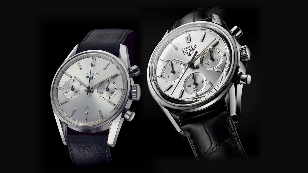 """Heuer """"Carrera"""", Referenz 2447 von 1963 und die """"Carrera 160 Years Silver Limited Edition"""" des Jahres 2020"""
