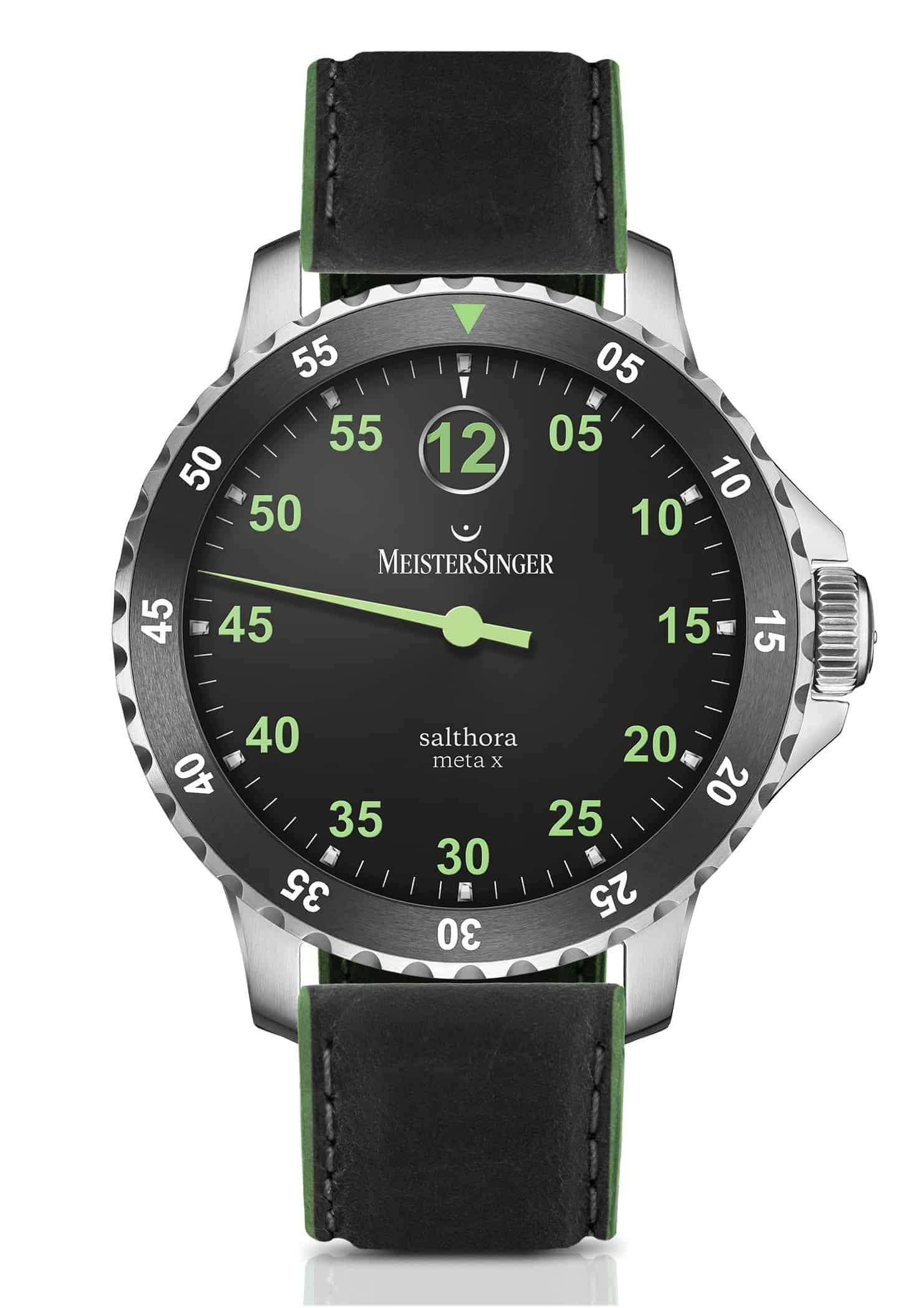 """Das MeisterSinger Armbanduhrenmodell Salthora Meta X"""" mit digitaler Stundenindikation und Minutenzeiger"""
