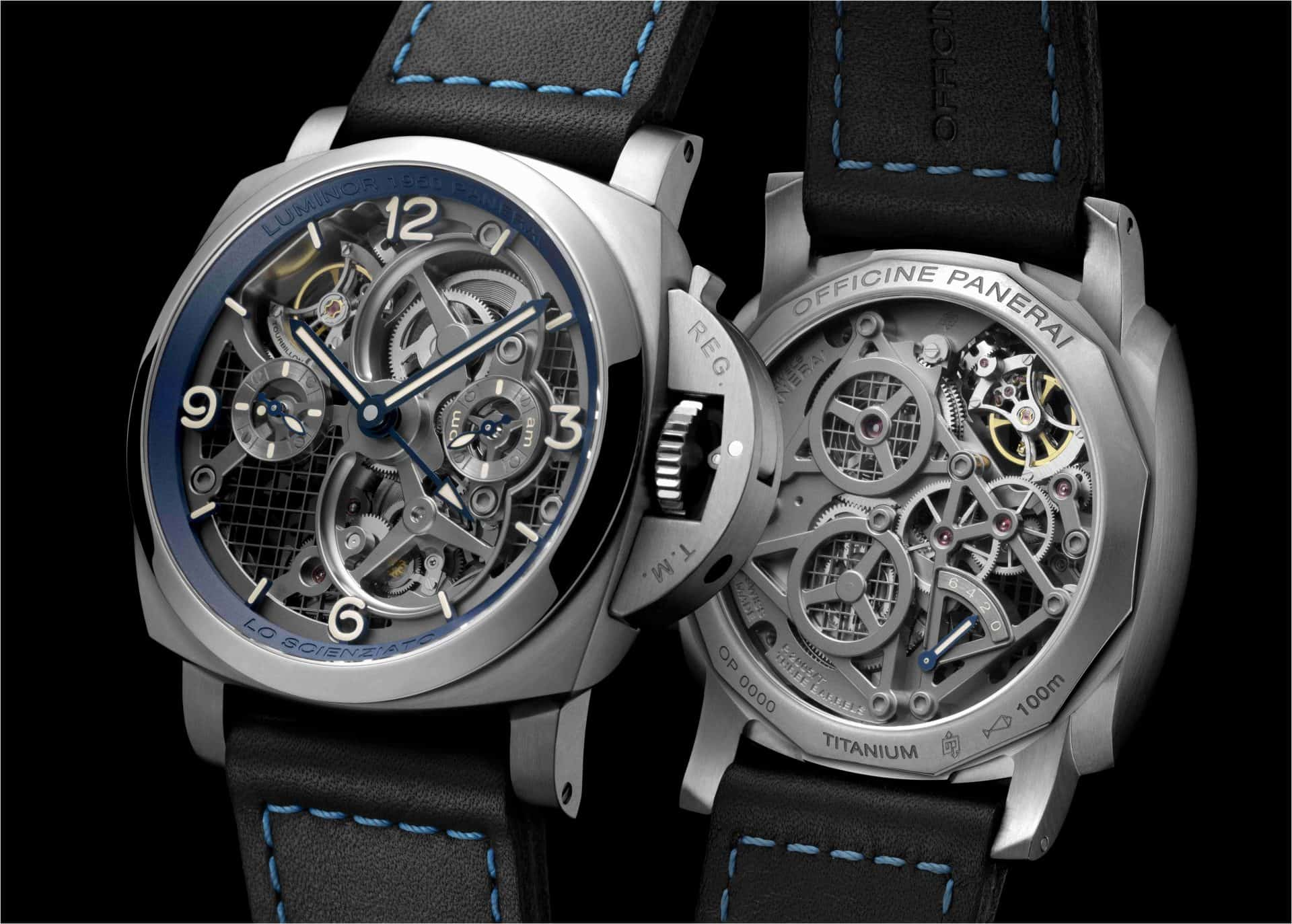 Die graue Titanuhr Panerai Luminor Tourbillon GMT Lo Scienziato mit 47 mm Gehäuse