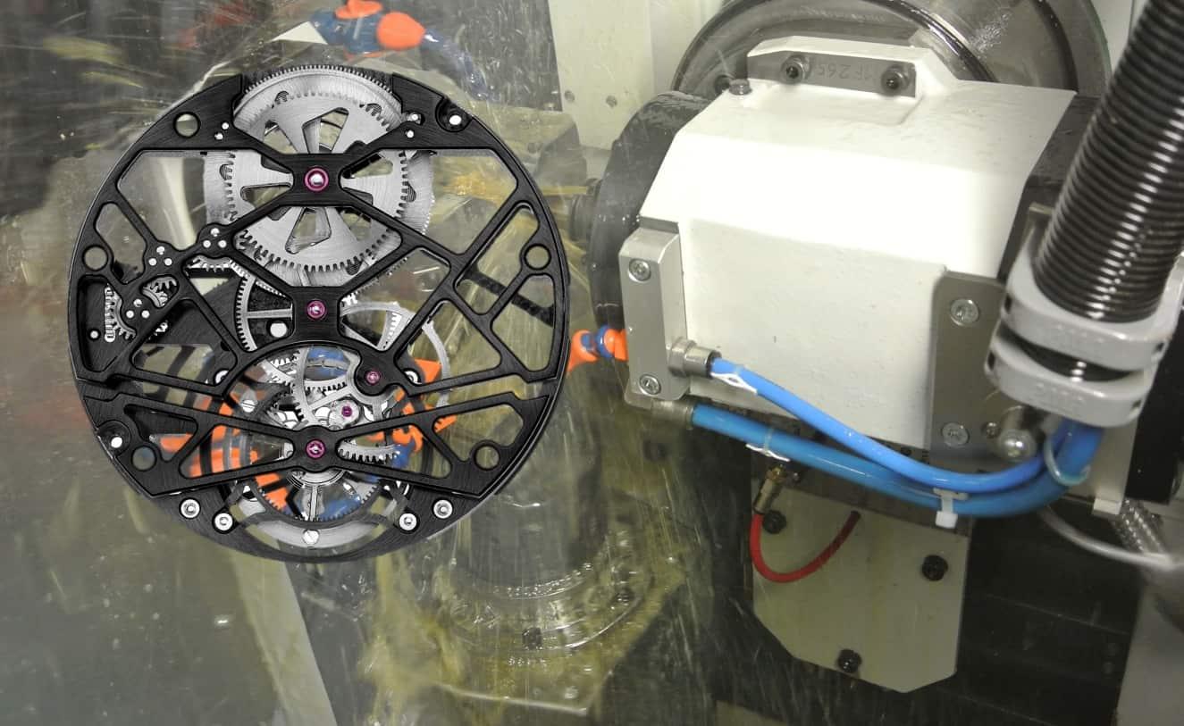 Herstellung einer skelettierten Werksplatine durch computergesteuertes Fräsen
