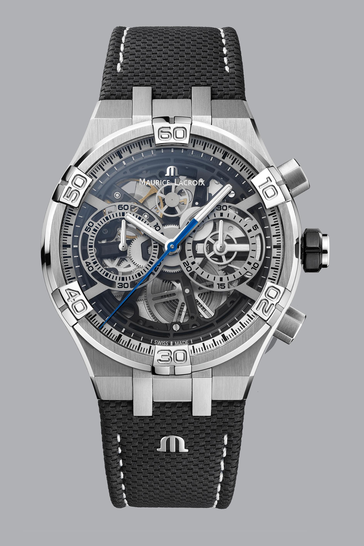 Die durchbrochen gestaltete Mechanik der Maurice Lacroix Aikon Chronograph Skeleton kommt vom Uhrwerk-Bauer und Veredler Concepto