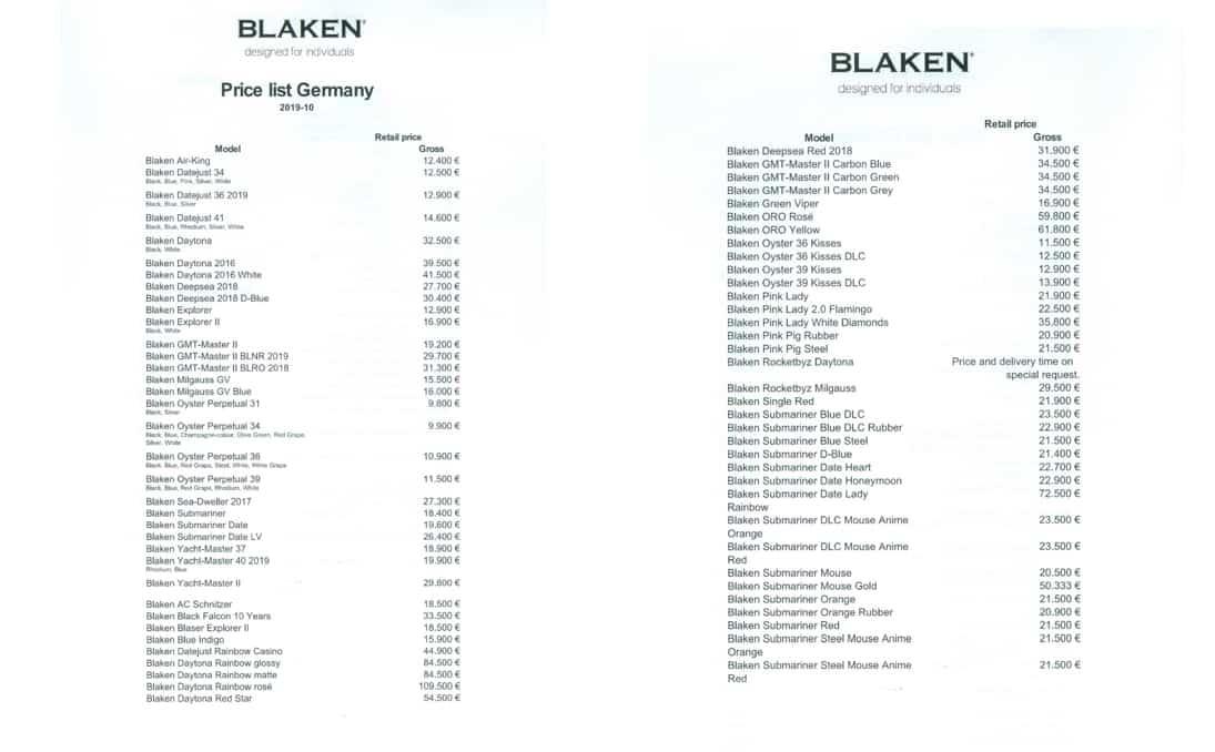 Blaken Preisliste für vom Unternehmen eingekaufte Rolex Armbanduhren 1