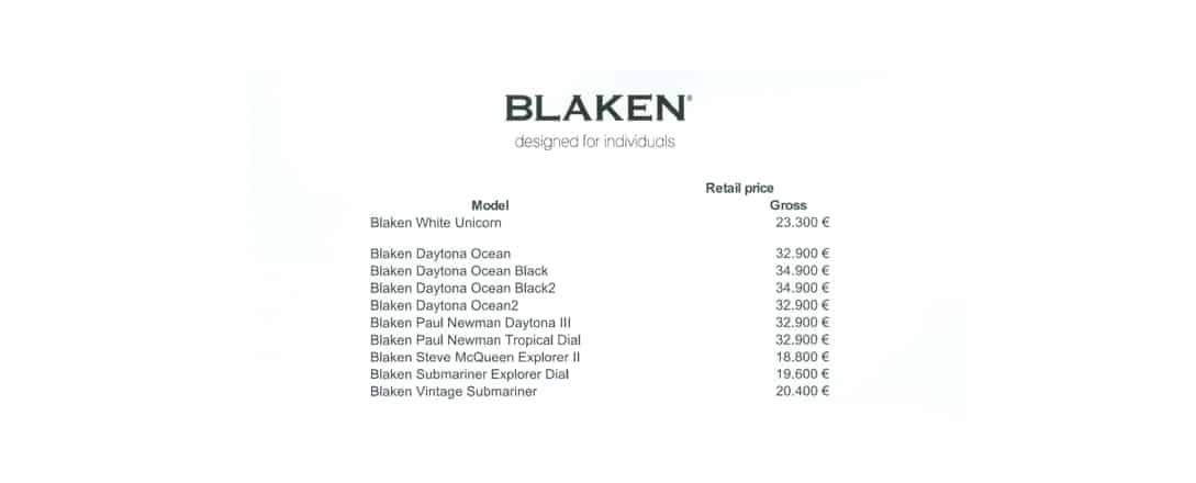 Blaken Preisliste für vom Unternehmen eingekaufte Rolex Armbanduhren 2