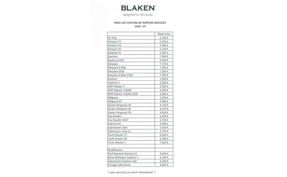 Blaken Preisliste für zugelieferte Rolex Armbanduhren