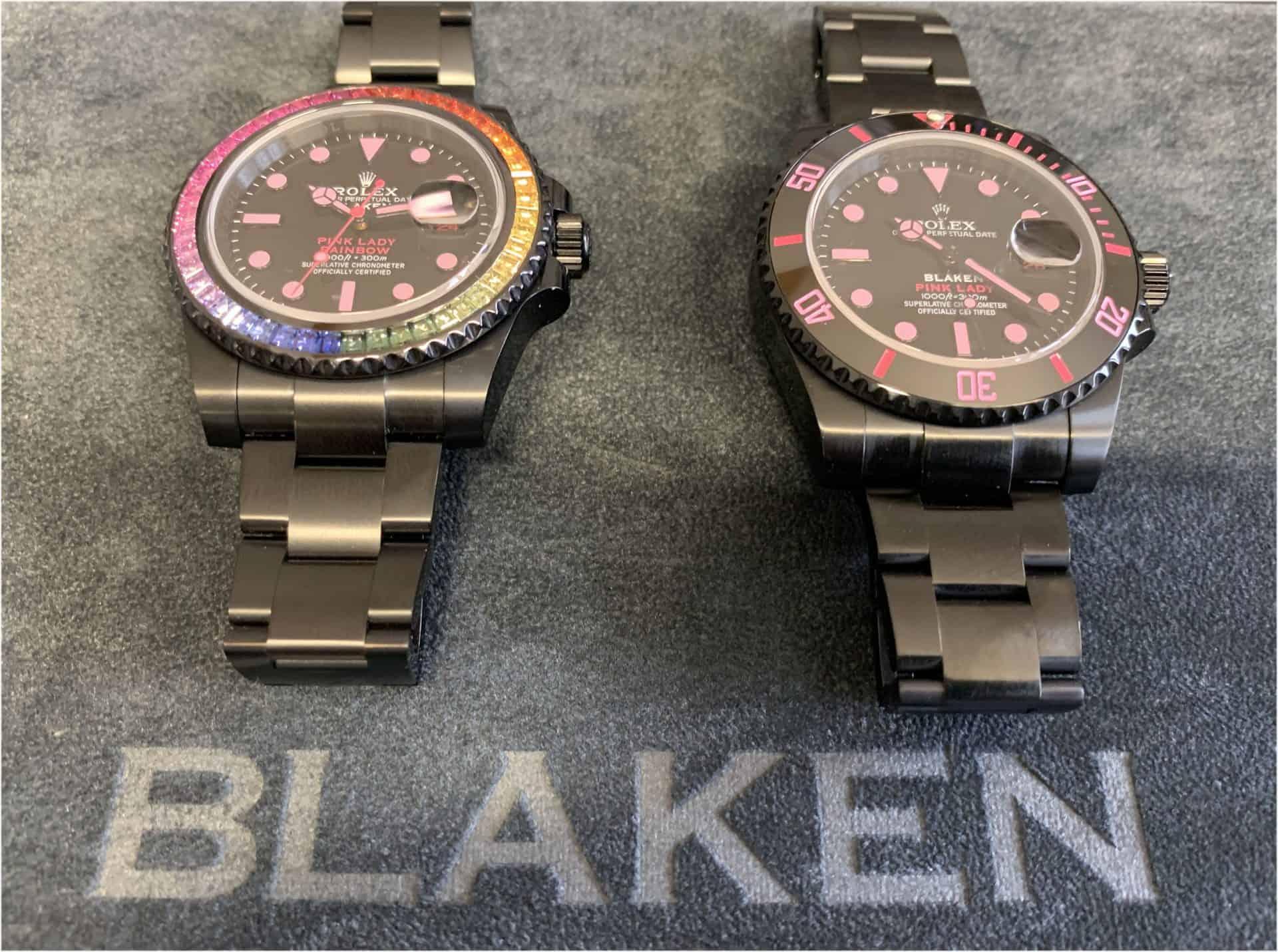 Nach der Modifikation durch Blaken tragen die Rolex Oyster Perpetual Submariner Modelle den Beinamen Pink Lady Rainbow. Das links abgebildete Rainbow-Modell findet mit Edelstein-Lünette ans Handgelenk