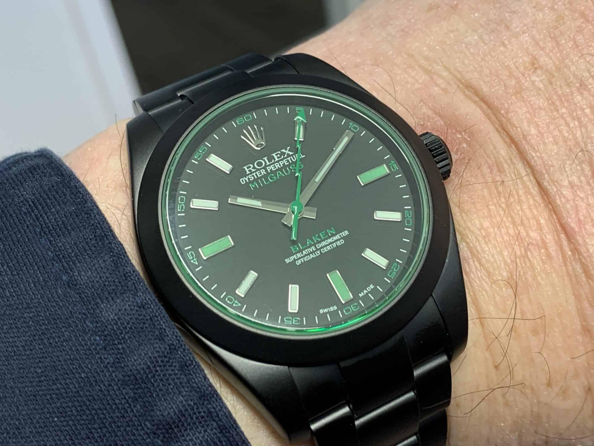 Grün und Amagnetisch bis 1000 Gauss: die von Blaken getunte Rolex Oyster Perpetual Milgauss, Referenz 116400GV