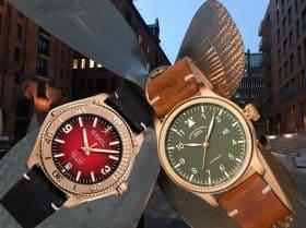 2 gegen den Trend: Bronze-Uhren Mühle Glashütte Terrasport und Ebel Discovery