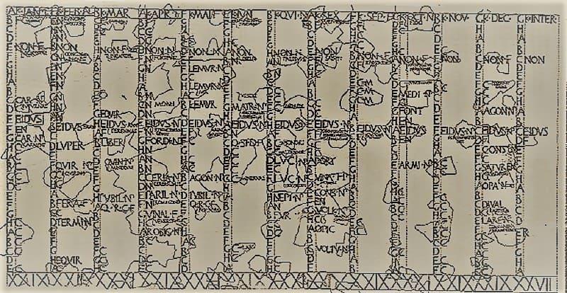 Fasti Antiates Maiores ist einer der wenigen erhaltenen Kalender vor der Kalenderreform durch Julius Caesar