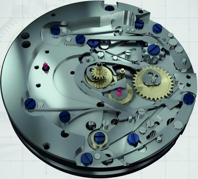 Das Chrono-Schaltwerk des Manufakturkalibers FC-760 befindet sich direkt unter dem Zifferblatt