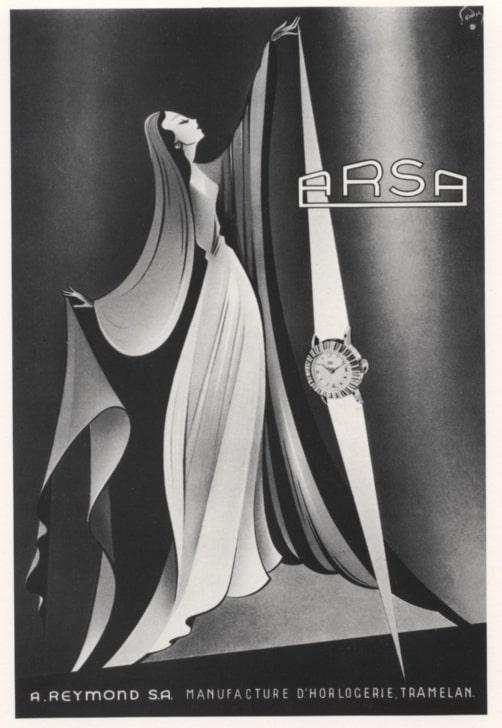 Alter Uhrenwerbung für eine ARSA Damenuhr