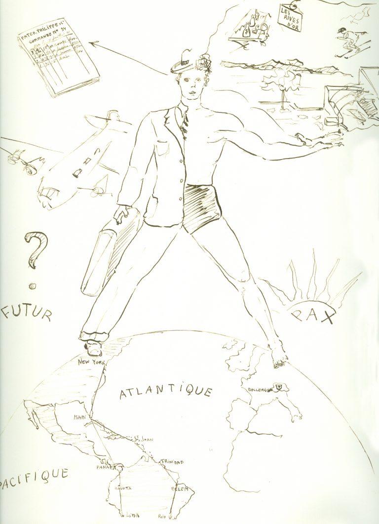 Die Zeichnung von Henri Felix Stern aus dem Jahr 1941 zeigt die Bedeutung des USA Business