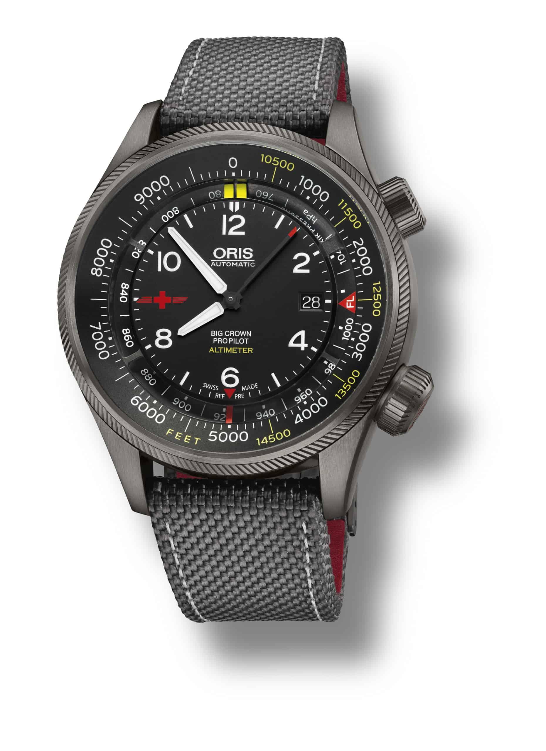 Der Oris ProPilot Altimeter ist eine klassische Pilotenuhr - aber mit dem praktischen Höhenmesser integriert