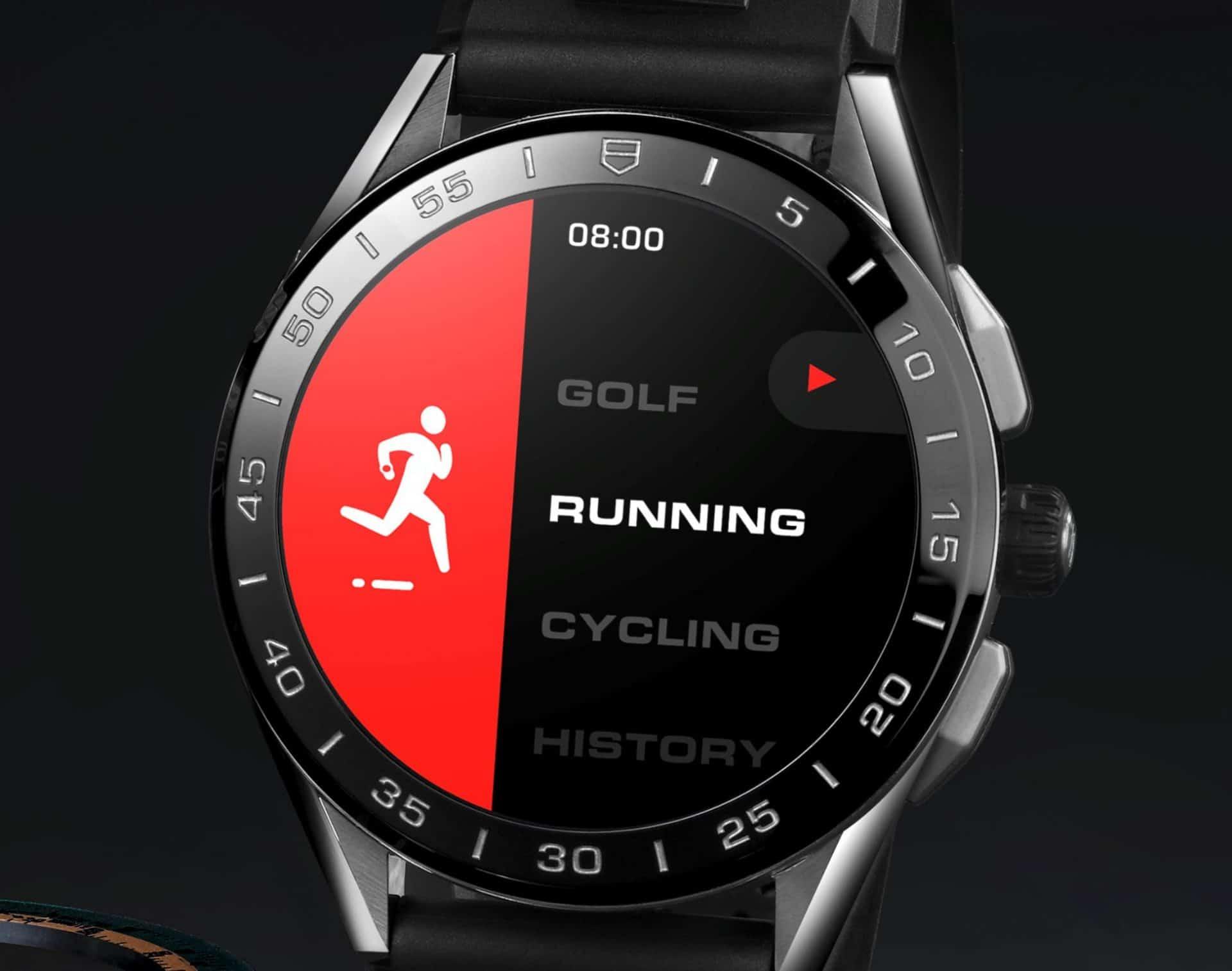 Die Navigation der Connected durch die Programme erfolgt einfach über die Chronographendrücker und den drehbaren Ring