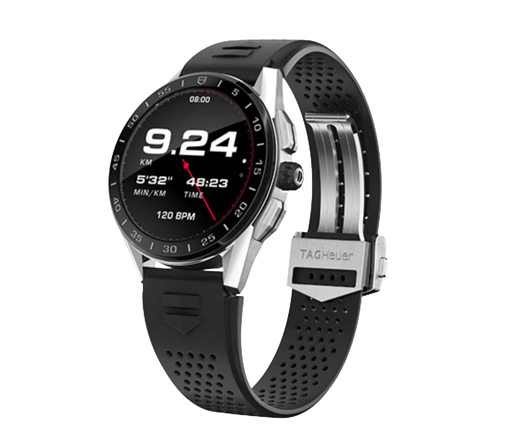 Hochwertiges Kautschukarmband und Stahlschließe zeigen die TAG Heuer Connected Watch als Lifestyleprodukt