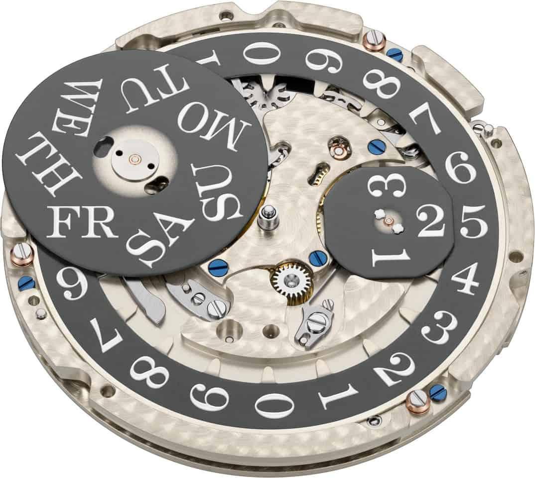 Unter dem Zifferblatt präsentiert sich beim Manufakturkaliber L155,1 die Kadratur zur Indikation von Wochentag und Datum