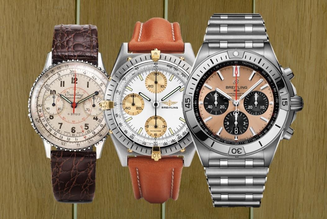 drei Generationen, aber noch erhältlich: Der Breitling Chronomat von 1941, 1984 und 2020.