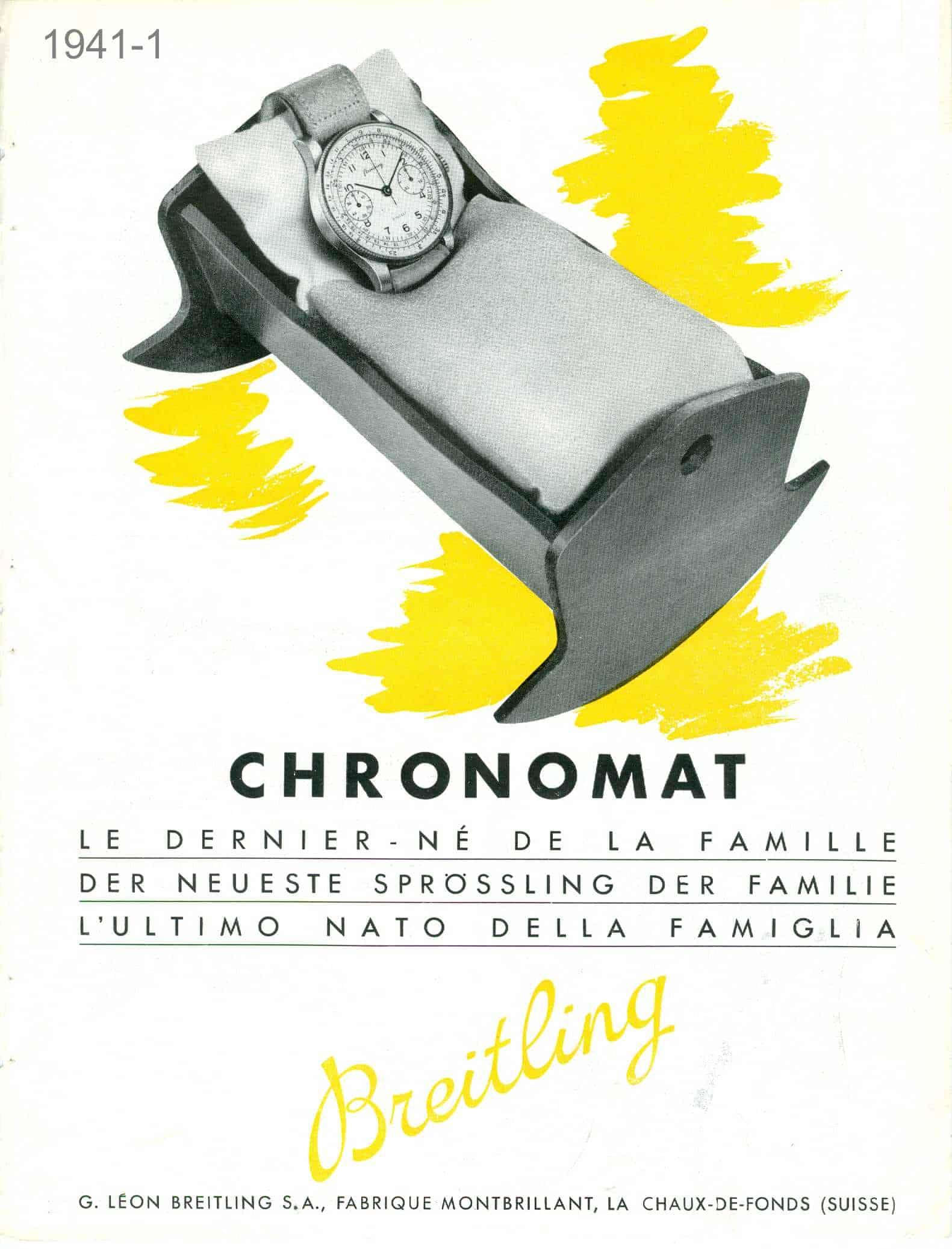 """Eine historische Anzeige für den Breitling """"Chronomat"""" Chronographen aus dem Jahr 1941"""