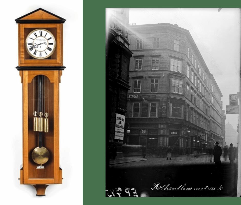 Historische Carl Suchy Uhr und das ursprüngliche Stammhaus in Prag