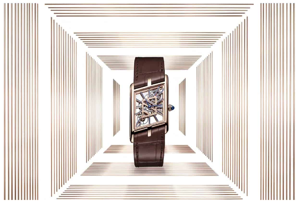 "Die Cartier ""Tank Asymétrique"" mit skelettierter Mechanik"