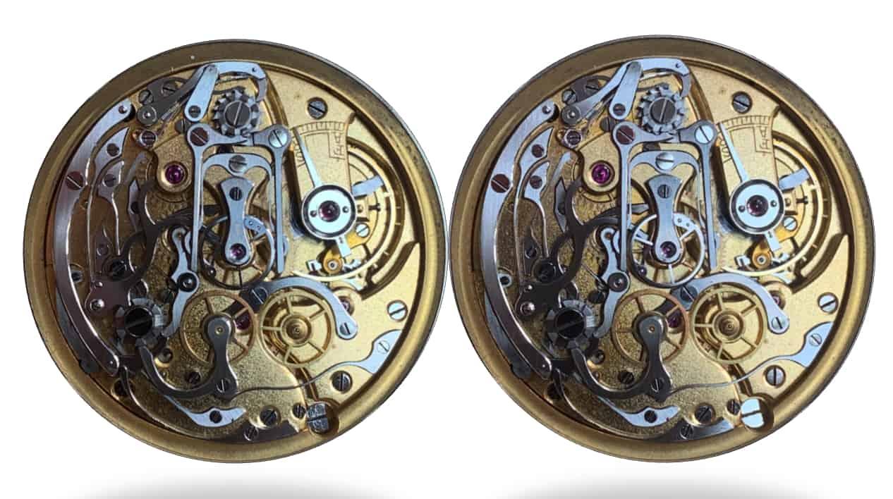 Das Schleppzeiger-Kaliber Valjoux VBR 55. List ist die Zange geschlossen, rechts ist sie geöffnet