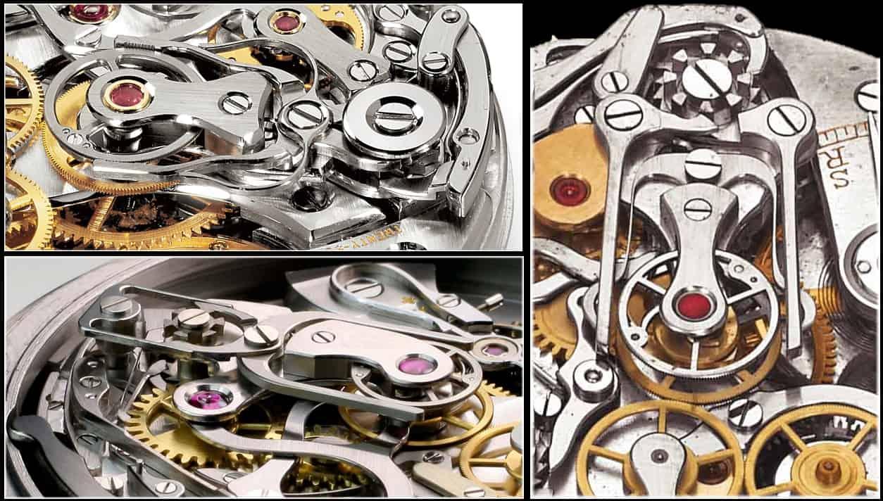 Drei verschienene Schleppzeiger-Mechanismen für Chronographen