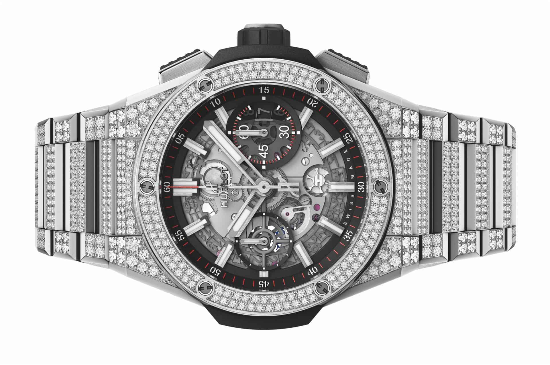 "Feine Hublot Technik mit vielen Diamanten: Die ""Big Bang Integral"" Chronographen. Diamonds are the girls best friends."