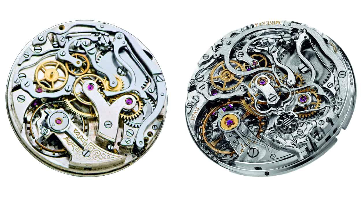 alt und neu: das historische Minerva Handaufzugskaliber 17/29 und rechts Montblanc MB-M 16.31 mit Schleppzeiger