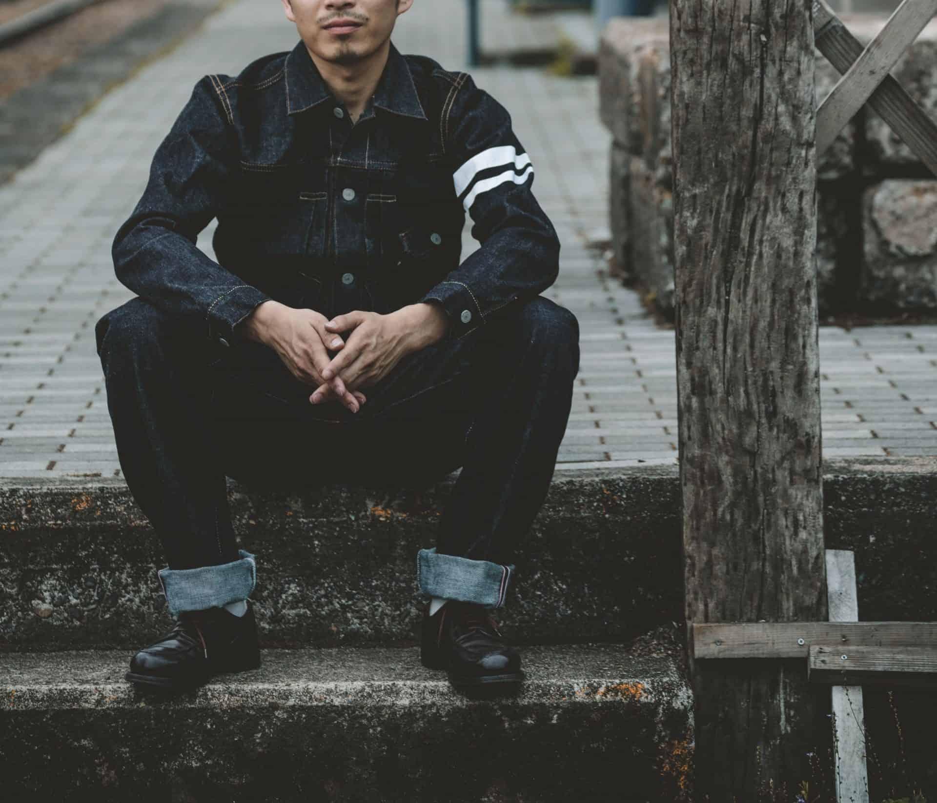 """Die weißen """"battle stripes"""" der Momotaro Jeans"""
