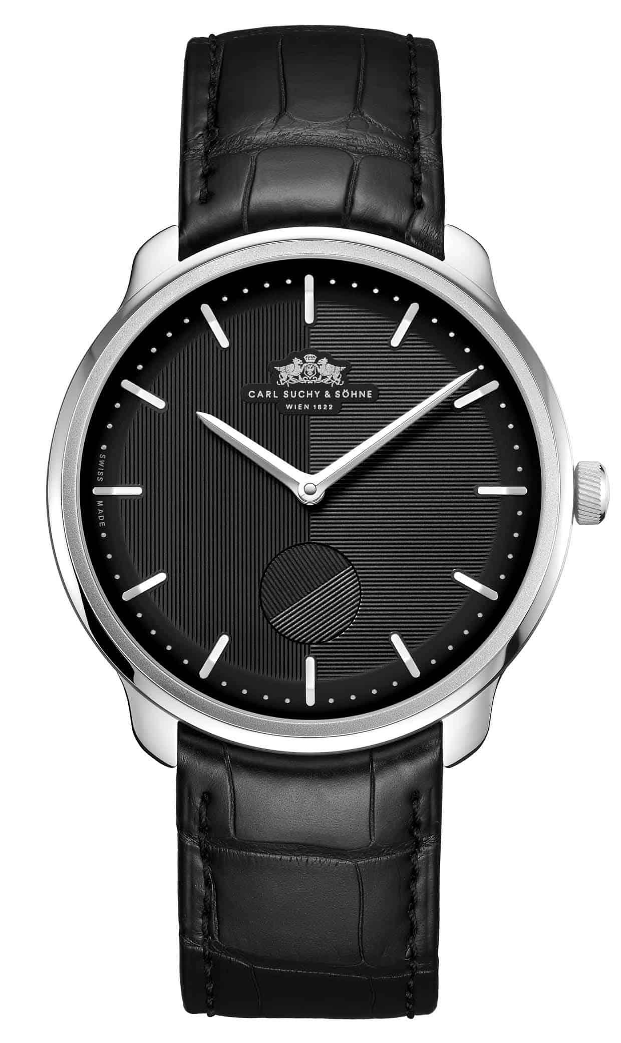 Suchy Modell Waltz 1 mit schwarzem Zifferblatt und Alligator Armband